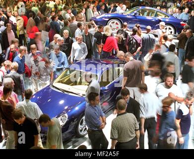 On 18.9.1999 visitors came to the Porsche booth at the International Motor Show (IAA) in Frankfurt on the first day of the public day. Two days after the official launch, the IAA is now open to the general public. The world's most important car show is expected to attract nearly 900,000 visitors to the fairgrounds by 26 September. | usage worldwide - Stock Photo