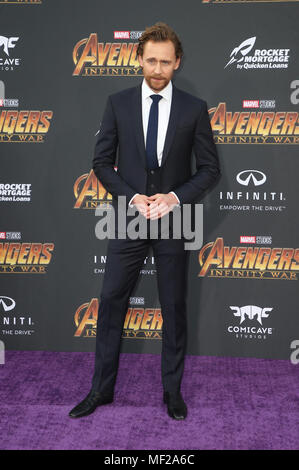 HOLLYWOOD, CA - APRIL 23: Tom Hiddleston, at the World Premiere of Avengers: Infinity War at El Capitan Theatre in Los Angeles, California on April 23, 2018. Credit: Faye Sadou/MediaPunch - Stock Photo