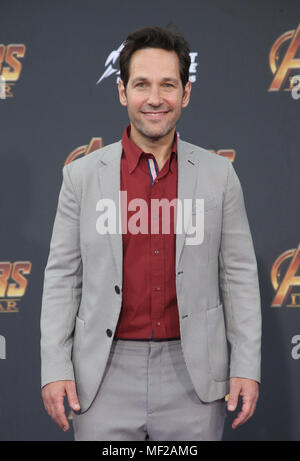 HOLLYWOOD, CA - APRIL 23: Paul Rudd, at the World Premiere of Avengers: Infinity War at El Capitan Theatre in Los Angeles, California on April 23, 2018. Credit: Faye Sadou/MediaPunch - Stock Photo
