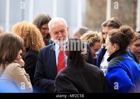 Westminster, London, UK, 24th April 2018, Unveiling of the Millicent Fawcett statue in Parliament Square, Jeremy Corbyn talks to fellow MPs Credit: Richard Soans/Alamy Live News - Stock Photo