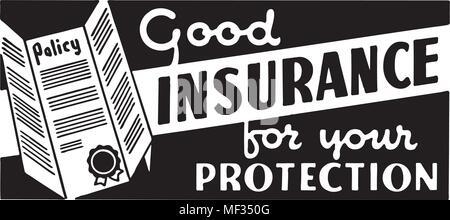 Good Insurance 2 - Retro Ad Art Banner - Stock Photo