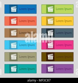 Cinema Clapper  icon sign. Set of twelve rectangular, colorful, beautiful, high-quality buttons for the site. Vector illustration - Stock Photo