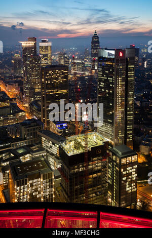 Germany, Hesse, Frankfurt, View from Maintower, Financial district in the evening - Stock Photo