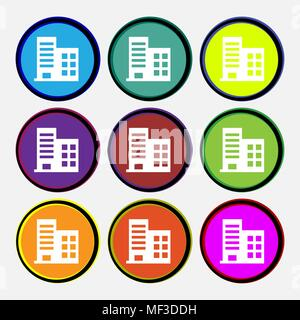 high-rise commercial buildings and residential apartments  icon sign. Nine multi-colored round buttons. Vector illustration - Stock Photo