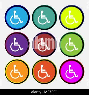 disabled icon sign. Nine multi colored round buttons. Vector illustration - Stock Photo