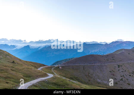 Italy, Piemont, West Alps, View from Colle Basset, Colle dell'Assietta, Cottian Alps - Stock Photo