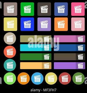 Cinema Clapper icon sign. Set from twenty seven multicolored flat buttons. Vector illustration - Stock Photo