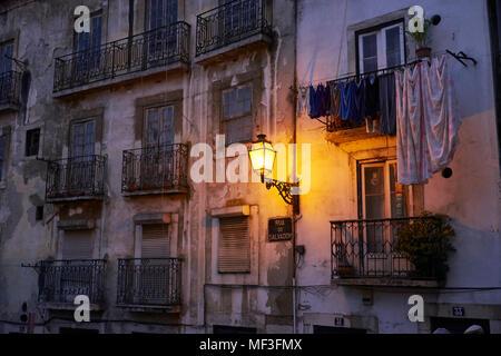 Portugal, Lisbon, Alfama, house facade and lamp - Stock Photo