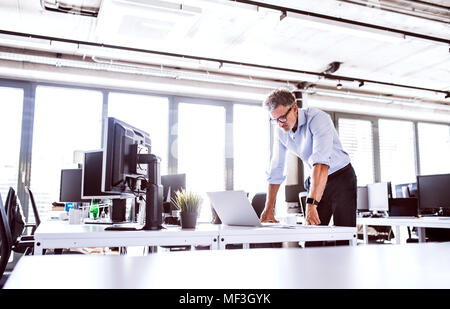 Mature businessman looking at laptop on desk in office - Stock Photo