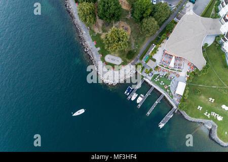 Switzerland, Ticino, Aerial view of Locarno, Lake Maggiore - Stock Photo