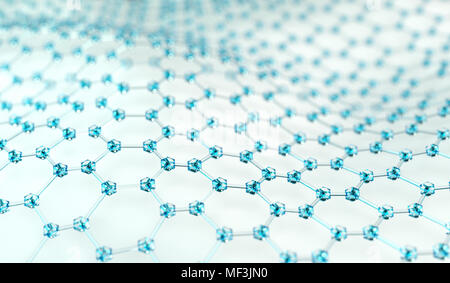 3D Rendering Of Blue Glass Abstract Connection On White Background Closeup - Stock Photo