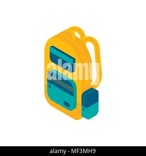 Isometric backpack icon. 3d school supplies with student's bag. Vector Back to school background with stationery. Office accessories. - Stock Photo