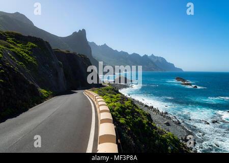Spain, Canary Islands, Tenerife, coastal road TF-134 towards Taganana - Stock Photo