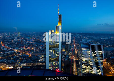 Germany, Hesse, Frankfurt, Financial district, Commerzbank Tower at blue hour - Stock Photo