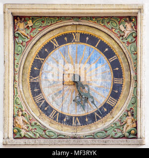 Ancient Clock of the Church of the Holy Ghost in Tallinn (Estonia), made by Christian Ackermann - Stock Photo