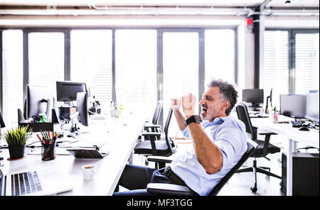 Happy mature businessman cheering at desk in office - Stock Photo