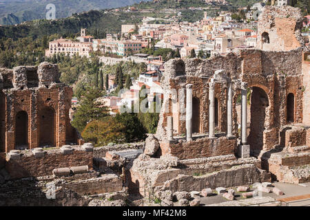 Ancient Greek-Roman theatre of Taormina, Sicily. - Stock Photo