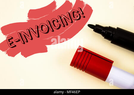 Handwriting text writing E-Invoicing Motivational Call. Concept meaning Company encourages use of digital billing written Painted background Markers n - Stock Photo