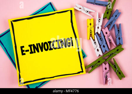 Text sign showing E-Invoicing Motivational Call. Conceptual photo Company encourages use of digital billing written Sticky Note Paper plain background - Stock Photo