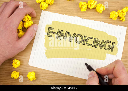 Writing note showing E-Invoicing Motivational Call. Business photo showcasing Company encourages use of digital billing written Tear Notebook Paper wo - Stock Photo