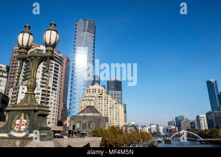 The Yarra river in front of the Melbourne skyline - Stock Photo