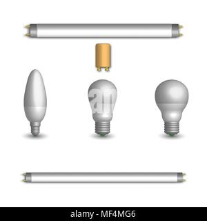 Set of various photorealistic light-emitting diode and fluorescent light bulbs. Elements for the design of electrical components. 3d style, vector ill - Stock Photo