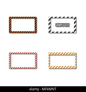 Set of different frames with slanted black and yellow stripes, isolated on white background. Rectangular warning sign, vector illustration. - Stock Photo