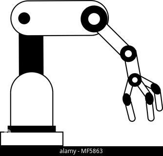 Robot arm machine on black white colors - Stock Photo