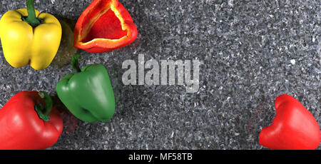 3D Rendering Of Realistic Peppers Different Types Top View On Granite Surface - Stock Photo
