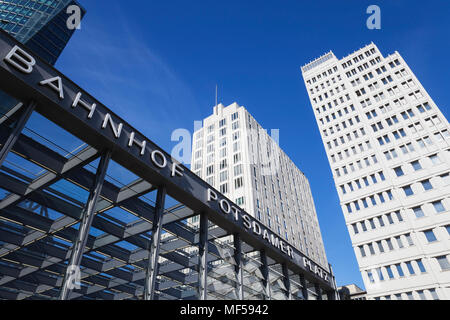 Germany, Berlin, view to Ritz Carlton Hotel and Beisheim Center with part of station building in the foreground - Stock Photo