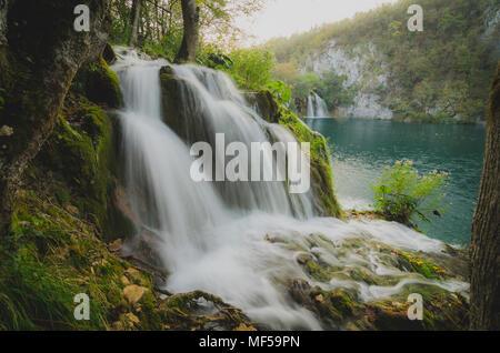 Croatia, Plitvice Lakes National Park, waterfall - Stock Photo