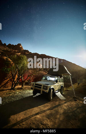 Off Road Vehicle With A Roof Tent Namibia Africa Stock