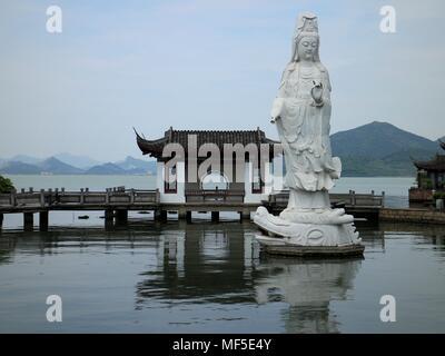 Guanyin Bodhisattva Statue at Dongqian Lake, Ningbo, China - Stock Photo