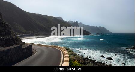Spain, Canary Islands, Tenerife, Roque de las Bodegas beach - Stock Photo