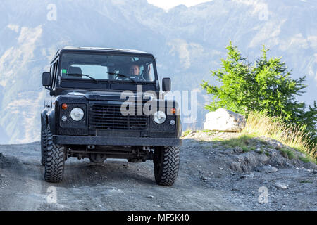Italy, Piemont, West Alps, Landrover on Colle dell'Assietta - Stock Photo