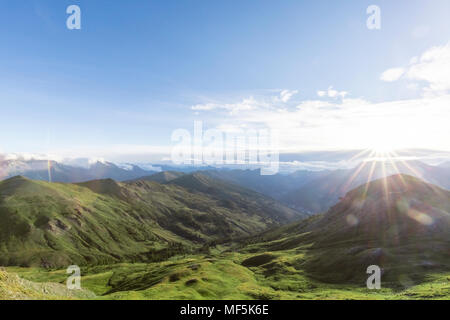 Italy, Piemont, West Alps, View from Colle Basset to Oulx - Stock Photo