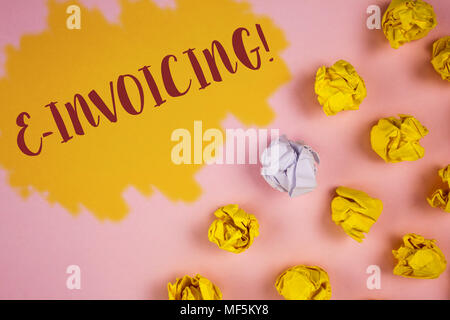 Word writing text E-Invoicing Motivational Call. Business concept for Company encourages use of digital billing written Painted background Crumpled Pa - Stock Photo