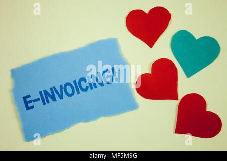Handwriting text E-Invoicing Motivational Call. Concept meaning Company encourages use of digital billing written Tear sticky note paper piece plain b - Stock Photo