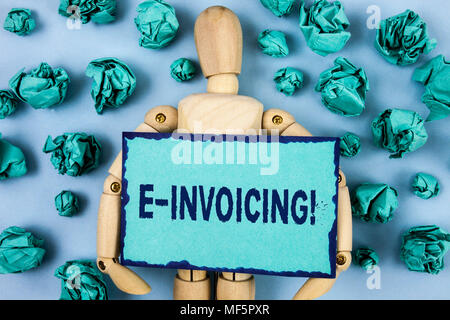 Word writing text E-Invoicing Motivational Call. Business concept for Company encourages use of digital billing written Sticky note paper within Paper - Stock Photo