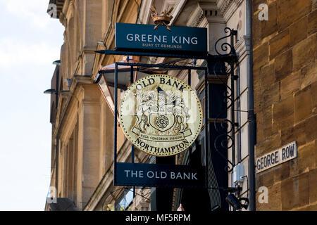 The Old Bank pub sign, Northampton, Northamptonshire, England, UK - Stock Photo