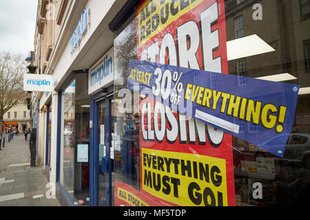maplin shop store closing with reductions signs in the window Bath Somerset England UK - Stock Photo