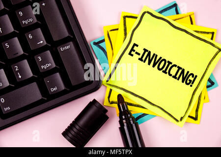 Word writing text E-Invoicing Motivational Call. Business concept for Company encourages use of digital billing written Sticky Note paper plain backgr - Stock Photo