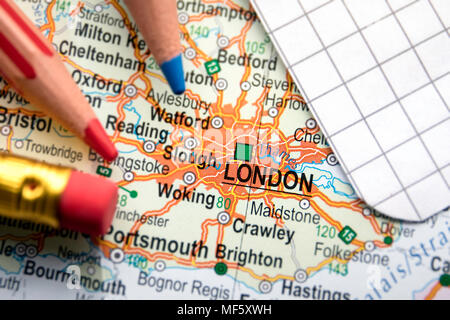London city of Great Britain in the center of the geographic map - Stock Photo