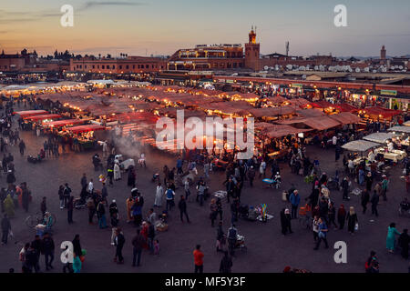 Jemaa el Fna market square. Marrakech, Morocco, Africa. - Stock Photo