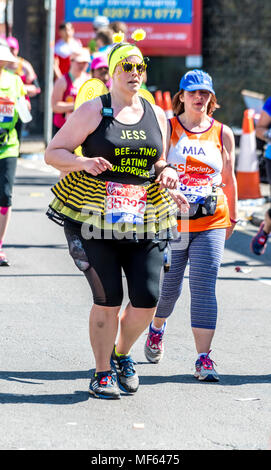 Overweight runner in the 2018 virgin money London marathon - Stock Photo