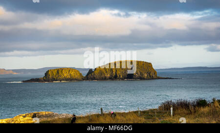 Ballintoy, Republic of Ireland, UK - 28/12/2016 : A couple of tourist photographing the sheep island near giant causeway, Northern Ireland - Stock Photo