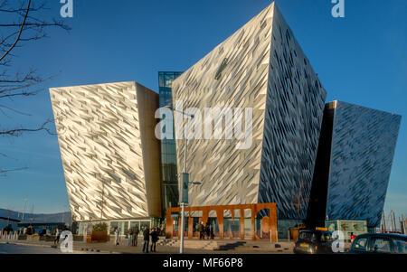BELFAST, NORTHERN IRELAND - December 29, 2016: Titanic multimedia museum and visitors information center in Belfast - Stock Photo