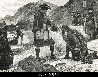 Landing of Bonnie Prince Charlie, Eriskay, 23 July 1745 - Stock Photo