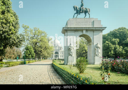 Kolkata, West Bengal, India - 11th March, 2018 : A statue of Edwards VII at the famous Victoria Memorial gardens on a bight sunny day, Kolkata, WB