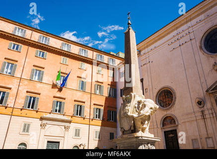 Monument of Elephant by Bernini on Piazza della Minerva in Rome, Italy - Stock Photo